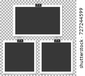photo frame with clip on grey... | Shutterstock .eps vector #727244599