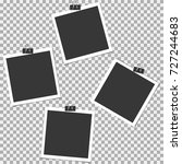 photo frame with clip on grey... | Shutterstock .eps vector #727244683