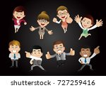 businesspeople in victory ... | Shutterstock .eps vector #727259416