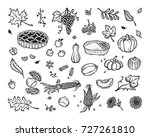 vector thanksgiving icon set.... | Shutterstock .eps vector #727261810