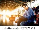 asian hipster man listening to... | Shutterstock . vector #727271554