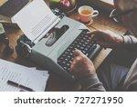 typewriter typing retro novel... | Shutterstock . vector #727271950