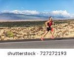 triathlete man runner running... | Shutterstock . vector #727272193