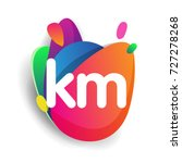 letter km logo with colorful... | Shutterstock .eps vector #727278268