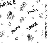 space theme doodle seamless... | Shutterstock .eps vector #727279690