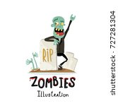 zombie character near rip... | Shutterstock .eps vector #727281304