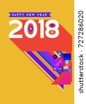 happy new year 2018 colorful... | Shutterstock .eps vector #727286020