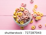 Colorful Cereal Rings In Bowl.