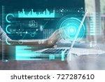 double exposure hand with smart ... | Shutterstock . vector #727287610