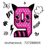 cool girl t shirt number 9 on... | Shutterstock .eps vector #727288834