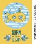 """born to dive"" poster  card... 