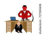 businessman scared under table... | Shutterstock .eps vector #727304608