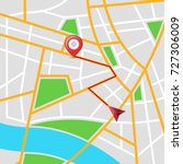 maps city  arrows pin vector... | Shutterstock .eps vector #727306009