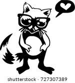 hand drawn vector raccoon.... | Shutterstock .eps vector #727307389