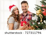 young  loving couple enjoying... | Shutterstock . vector #727311796