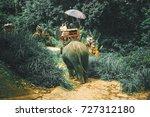 tourists riding elephants...   Shutterstock . vector #727312180