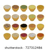 groats in wooden bowl set. rice ...   Shutterstock .eps vector #727312486