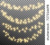 christmas garland lights... | Shutterstock .eps vector #727316698