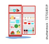 opened  broken fridge with... | Shutterstock .eps vector #727318519