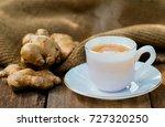 ginger tea hot drink in glass... | Shutterstock . vector #727320250