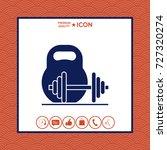 kettlebell and barbell icon | Shutterstock .eps vector #727320274