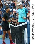 Small photo of NEW YORK - SEPTEMBER 10, 2017: US Open 2017 champion Rafael Nadal of Spain (L) and finalist Kevin Andersen of South Africa before men's singles final match at Billie Jean King National Tennis Center
