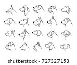 collection of dogs heads... | Shutterstock .eps vector #727327153