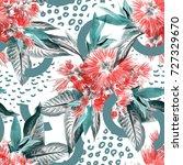 tropical seamless pattern.... | Shutterstock . vector #727329670