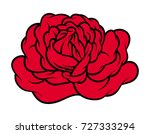 red rose isolated on white... | Shutterstock .eps vector #727333294