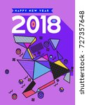 happy new year 2018 colorful... | Shutterstock .eps vector #727357648