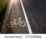 bike sign or icon on the road... | Shutterstock . vector #727358986
