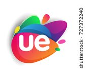 letter ue logo with colorful...