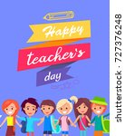 happy teacher's day wish on... | Shutterstock .eps vector #727376248