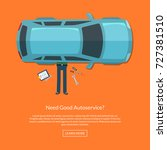 vector mechanic lying under car ... | Shutterstock .eps vector #727381510