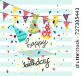 beautiful birthday card | Shutterstock .eps vector #727385443