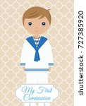my first communion boy | Shutterstock .eps vector #727385920