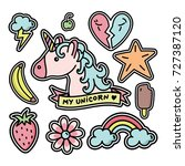 unicorn patch design cute | Shutterstock .eps vector #727387120