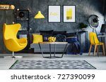yellow furniture in hipster... | Shutterstock . vector #727390099