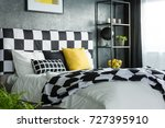 bedding with black and white... | Shutterstock . vector #727395910