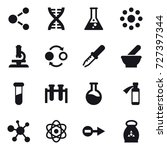 16 vector icon set   molecule ... | Shutterstock .eps vector #727397344