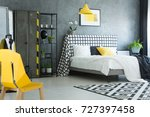 yellow designer chair in black... | Shutterstock . vector #727397458
