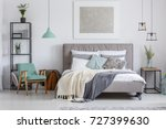 silver painting above king size ... | Shutterstock . vector #727399630