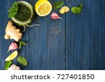 jar with chutney mint sauce and ... | Shutterstock . vector #727401850