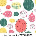 seamless fruit and vegetables... | Shutterstock .eps vector #727404070