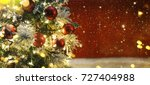 christmas tree with decoration... | Shutterstock . vector #727404988