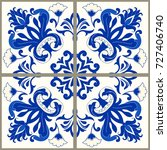 majolica pottery tile  blue and ... | Shutterstock .eps vector #727406740