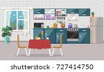 kitchen interior  with table ... | Shutterstock .eps vector #727414750