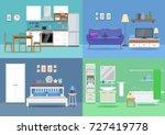 House interior, kitchen, living room, bedroom, bathroom. Flat style, vector illustration design template | Shutterstock vector #727419778