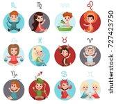 adorable little kids wearing... | Shutterstock .eps vector #727423750