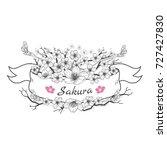 flower ribbon of sakura.... | Shutterstock .eps vector #727427830